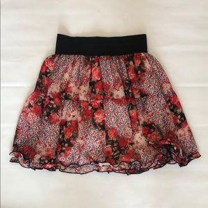 Dresses & Skirts - Floral Ruffle High Waisted Skirt
